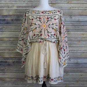 Free People Frida Embroidered Kaftan Dress